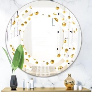 Designart 'Golden Circular Pattern II' Modern Round or Oval Wall Mirror - Space
