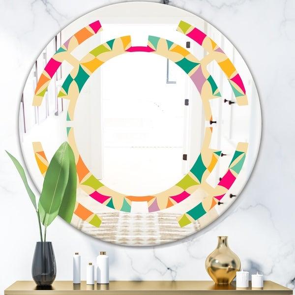Designart 'Abstract Retro Geometric Pattern III' Modern Round or Oval Wall Mirror - Space - Multi