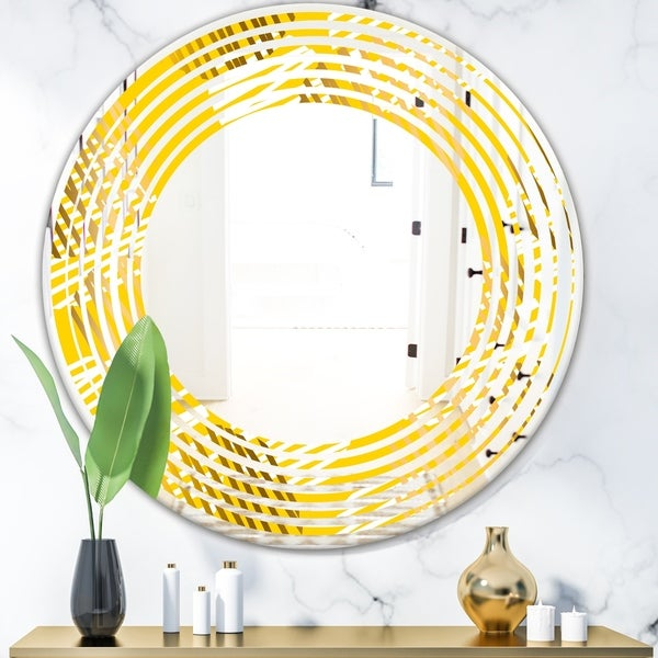 Designart 'Abstract Retro Geometric IV' Modern Round or Oval Wall Mirror - Wave