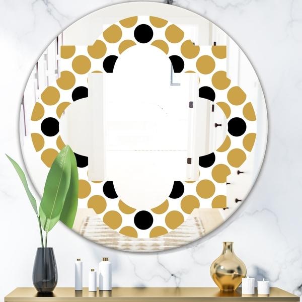 Designart 'Golden Polka Dot' Modern Round or Oval Wall Mirror - Quatrefoil