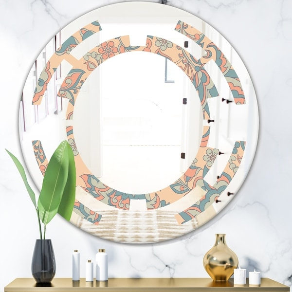 Designart 'Retro Indian Floral Batik II' Modern Round or Oval Wall Mirror - Space