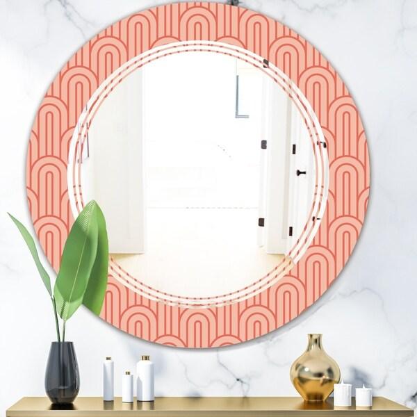 Designart 'Retro Art Deco Waves II' Modern Round or Oval Wall Mirror - Triple C