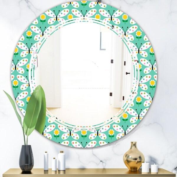 Designart 'Retro Butterflies I' Modern Round or Oval Wall Mirror - Triple C
