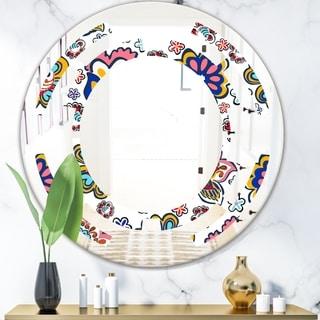 Designart 'Retro handdrawn flowers II' Modern Round or Oval Wall Mirror - Space - Multi