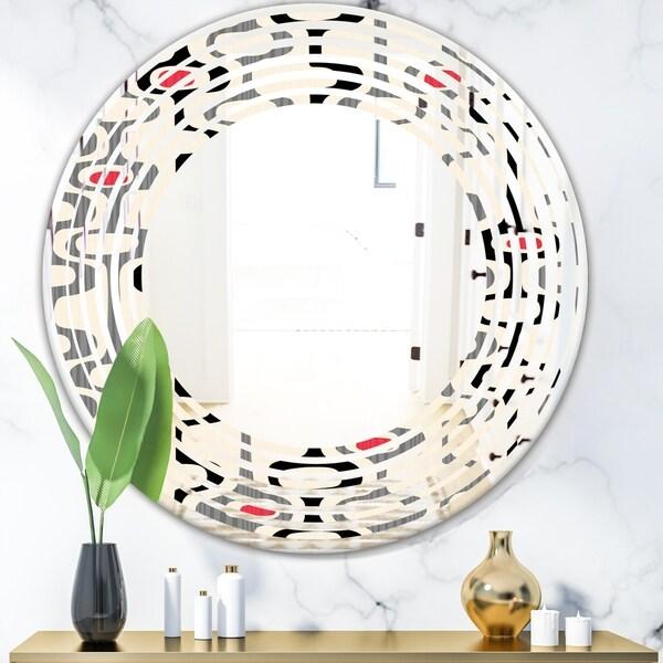 Designart 'Retro Abstract Design IX' Modern Round or Oval Wall Mirror - Wave