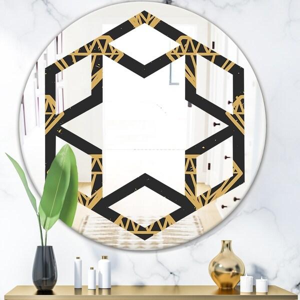Designart 'Vintage Golden Diamonds' Modern Round or Oval Wall Mirror - Hexagon Star