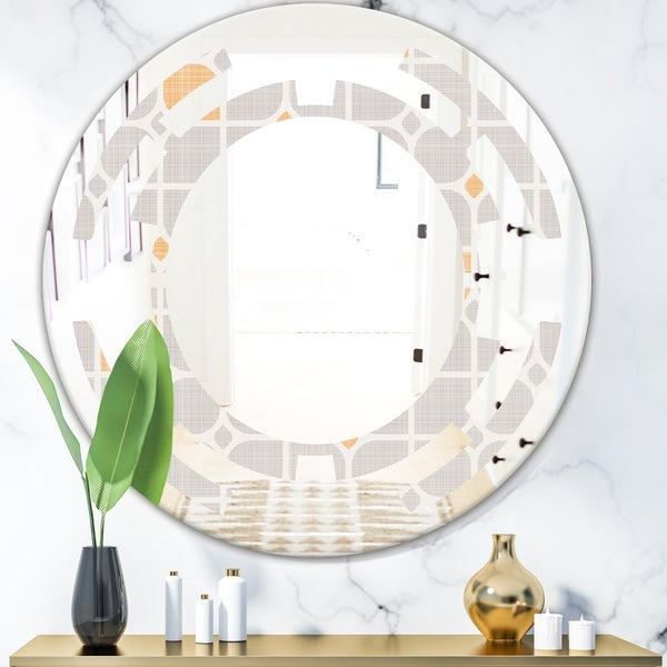 Designart 'Retro Geometrical Pattern II' Modern Round or Oval Wall Mirror - Space