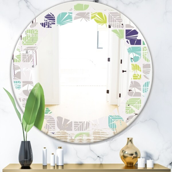 Designart 'geometric pattern with leaves' Modern Round or Oval Wall Mirror - Leaves