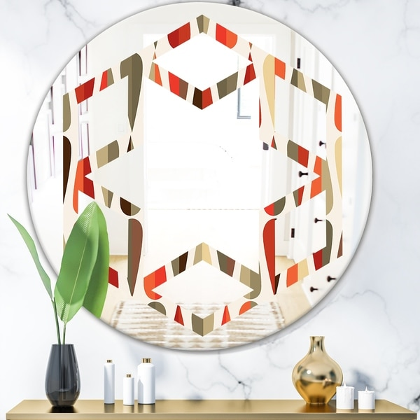 Designart 'Retro Abstract Drops IV' Modern Round or Oval Wall Mirror - Hexagon Star - Multi