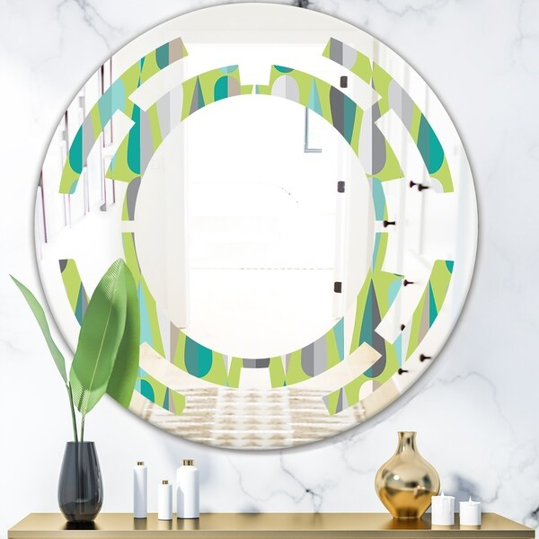 Designart 'Retro Abstract Drops VI' Modern Round or Oval Wall Mirror - Space