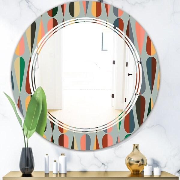 Designart 'Retro Abstract Drops IX' Modern Round or Oval Wall Mirror - Triple C - Multi