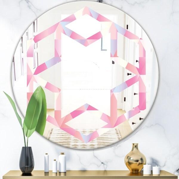 Designart 'Diamond Retro VI' Modern Round or Oval Wall Mirror - Hexagon Star