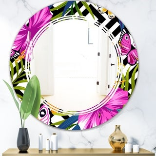 Designart 'Tropical Foliage and Geometrics' Modern Round or Oval Wall Mirror - Triple C - Multi