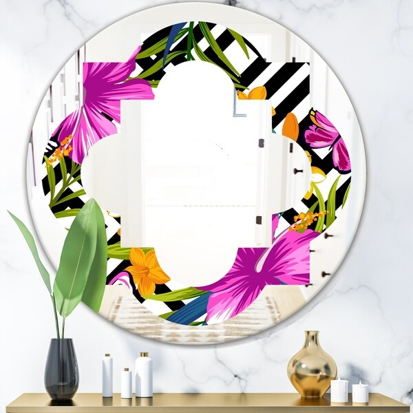 Designart 'Tropical Foliage and Geometrics' Modern Round or Oval Wall Mirror - Quatrefoil - Multi