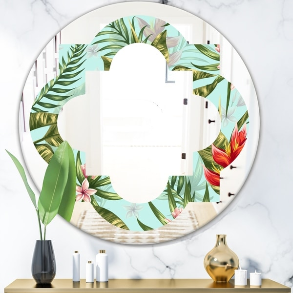 Designart 'Tropical Foliage II' Modern Round or Oval Wall Mirror - Quatrefoil