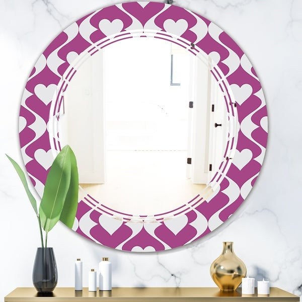 Designart 'Retro Pattern Abstract Design VIII' Modern Round or Oval Wall Mirror - Triple C