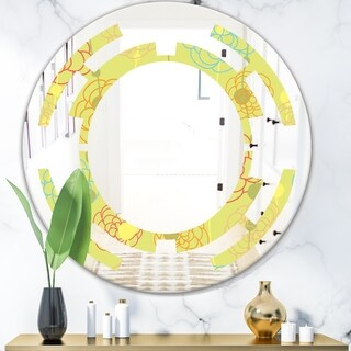 Designart 'Retro Handdrawn Flowers On Green Background' Modern Round or Oval Wall Mirror - Space