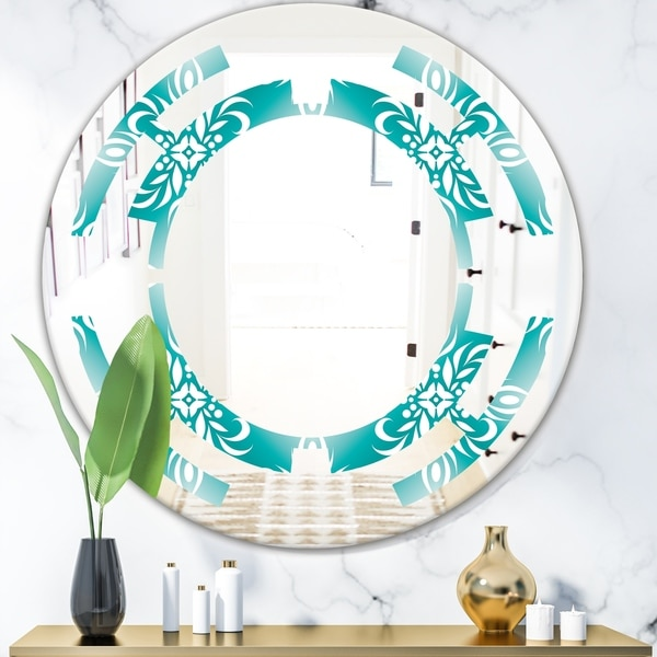 Designart 'Retro Turquoise Pattern' Modern Round or Oval Wall Mirror - Space