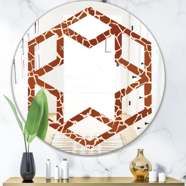 Designart 'Leopard Fur Safari I' Modern Round or Oval Wall Mirror - Hexagon Star