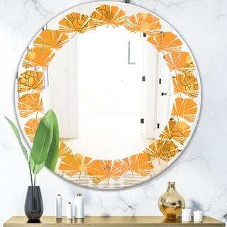 Designart 'Retro handdrawn flowers III' Modern Round or Oval Wall Mirror - Leaves
