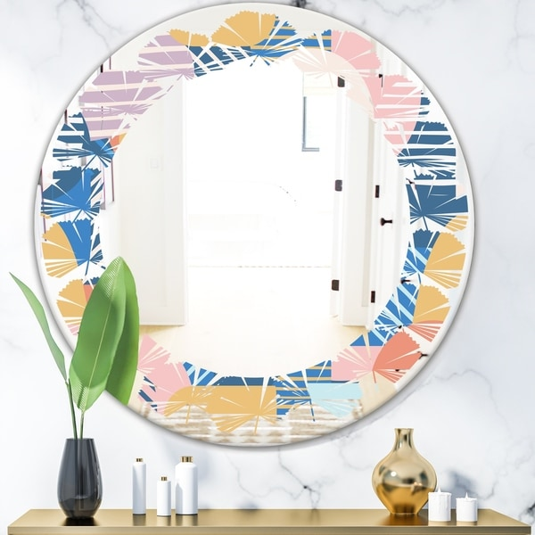 Designart 'Trendy Contemporary Geometry Shapes Pattern' Modern Round or Oval Wall Mirror - Leaves - Multi