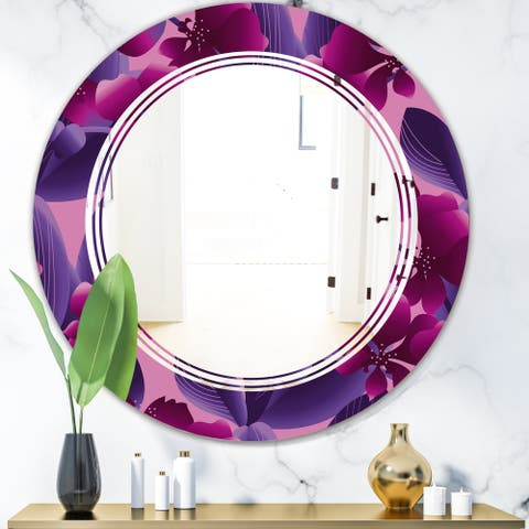 Designart 'Orchid blossom colorful pattern' Modern Round or Oval Wall Mirror - Triple C