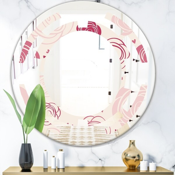 Designart 'roses pattern' Modern Round or Oval Wall Mirror - Space