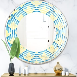 Designart 'Retro Pattern Abstract Design IX' Modern Round or Oval Wall Mirror - Wave