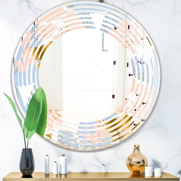 Designart 'Golden Foliage XV' Modern Round or Oval Wall Mirror - Wave