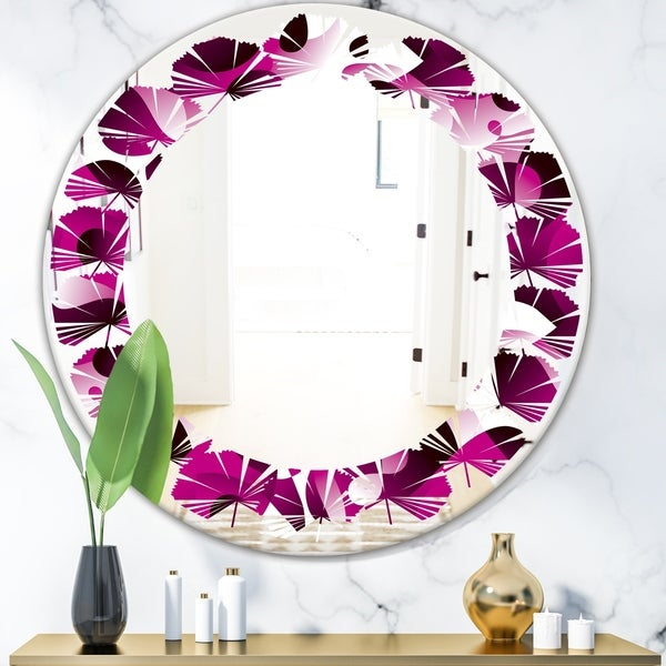 Designart 'Abstract Design Retro Pattern VI' Cottage Round or Oval Wall Mirror - Leaves