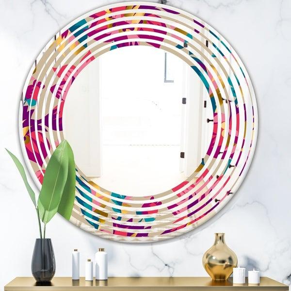 Designart 'Elegant blossom hand drawn folk pattern' Cottage Round or Oval Wall Mirror - Wave - Multi
