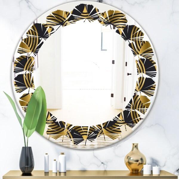 Designart 'Art Deco style modern pattern' Modern Round or Oval Wall Mirror - Leaves