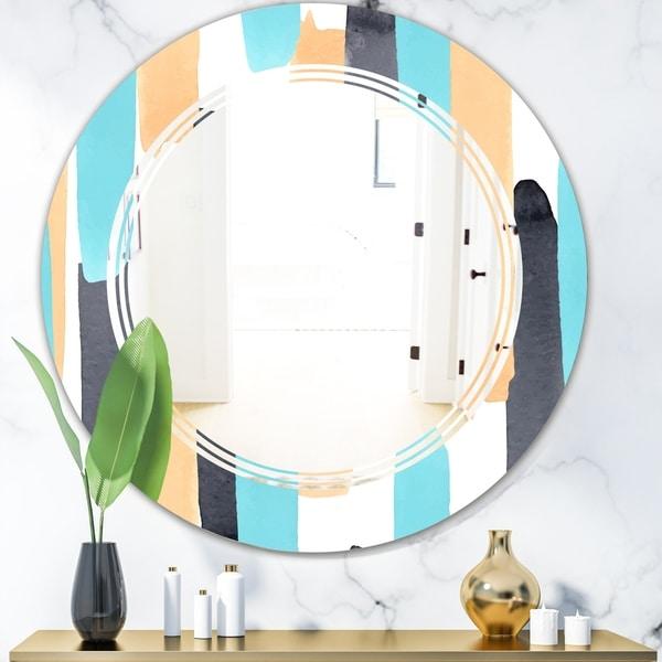 Designart 'Retro Geometrical Abstract I' Modern Round or Oval Wall Mirror - Triple C