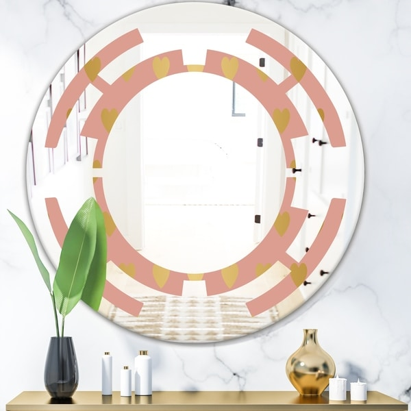 Designart 'Gold Hearts On Pink' Modern Round or Oval Wall Mirror - Space