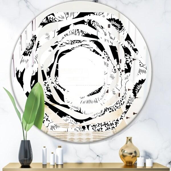 Designart 'Retro Monochrome Flowers Pattern' Cottage Round or Oval Wall Mirror - Whirl