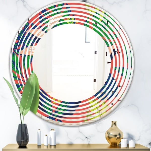 Designart 'Retro Tropical Leaves I' Modern Round or Oval Wall Mirror - Wave - Multi