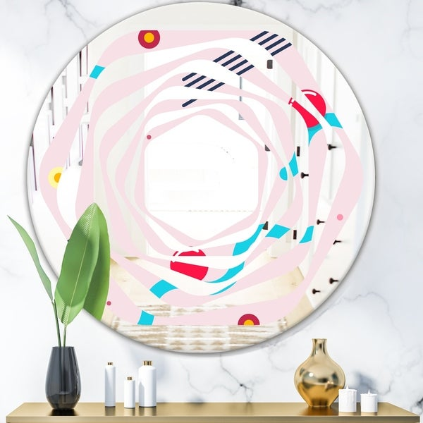 Designart 'Retro Geometrical Abstract Pattern III' Modern Round or Oval Wall Mirror - Whirl