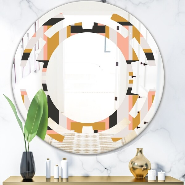 Designart 'Abstract Retro Geometric IX' Modern Round or Oval Wall Mirror - Space - Multi