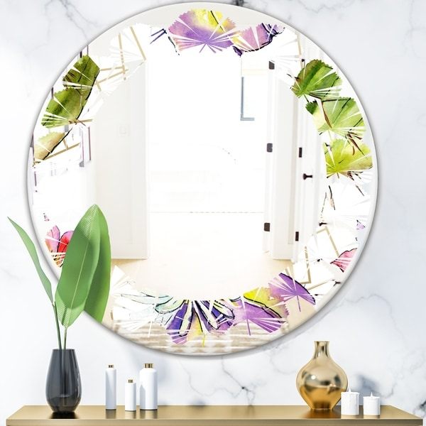 Designart 'Green Cactus Pattern' Cottage Round or Oval Wall Mirror - Leaves