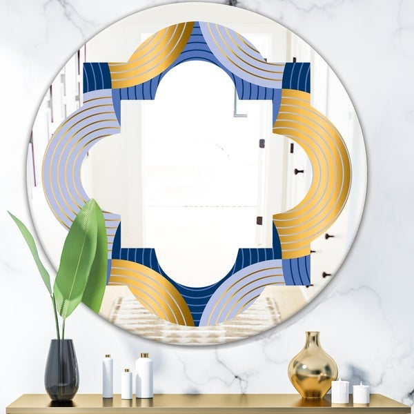 Designart 'Retro Luxury Waves In Gold and Blue X' Modern Round or Oval Wall Mirror - Quatrefoil