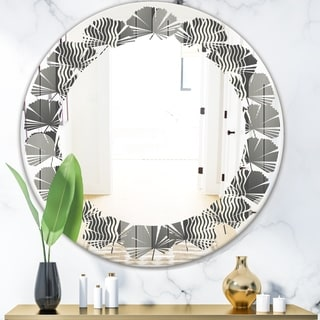 Designart 'Mimimal Black and White Design II' Modern Round or Oval Wall Mirror - Leaves