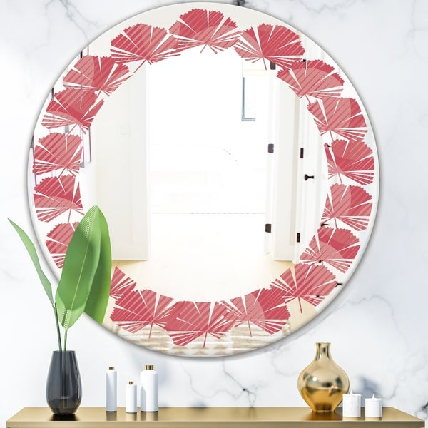 Designart 'Coral Round Geometrical' Modern Round or Oval Wall Mirror - Leaves