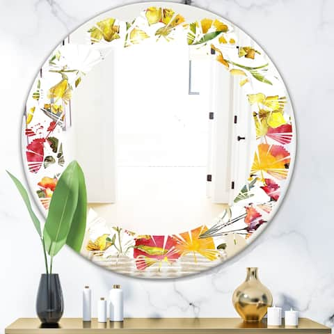 Designart 'Retro Handdrawn Poppies IV' Cottage Round or Oval Wall Mirror - Leaves