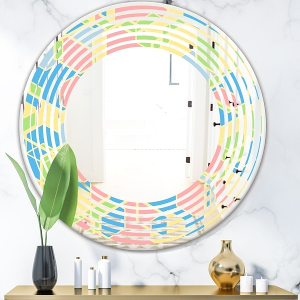 Designart 'Geometrical Pastel Abstract II' Modern Round or Oval Wall Mirror - Wave