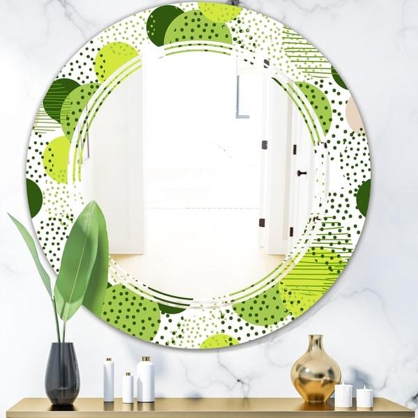 Designart 'Circular Abstract Retro Geometric X' Modern Round or Oval Wall Mirror - Triple C