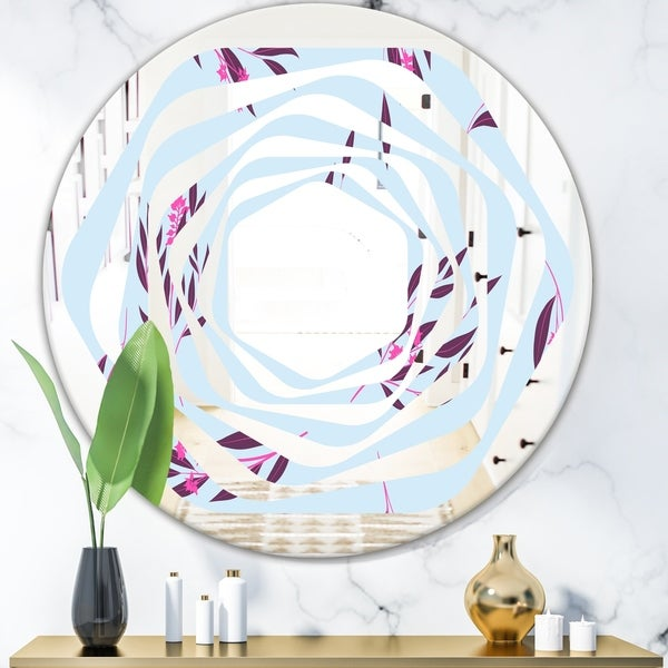 Designart 'Bright Eucalyptus Floral Pattern I' Cottage Round or Oval Wall Mirror - Whirl