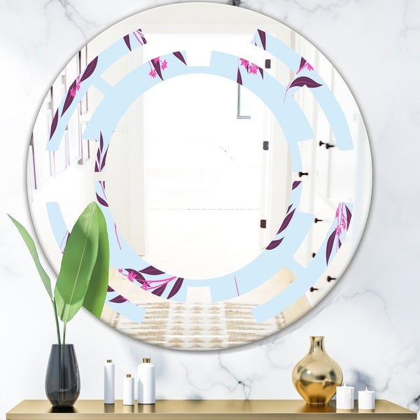 Designart 'Bright Eucalyptus Floral Pattern I' Cottage Round or Oval Wall Mirror - Space