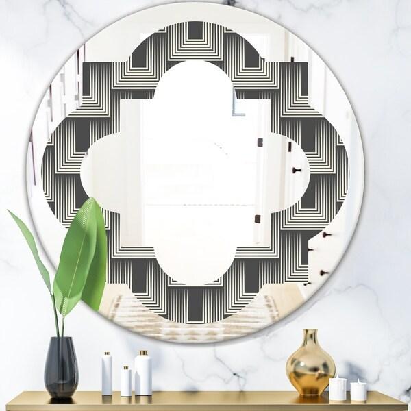 Designart 'Mimimal Black and White Design I' Modern Round or Oval Wall Mirror - Quatrefoil