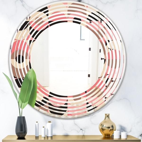 Designart 'Retro Geometric Design XI' Modern Round or Oval Wall Mirror - Wave
