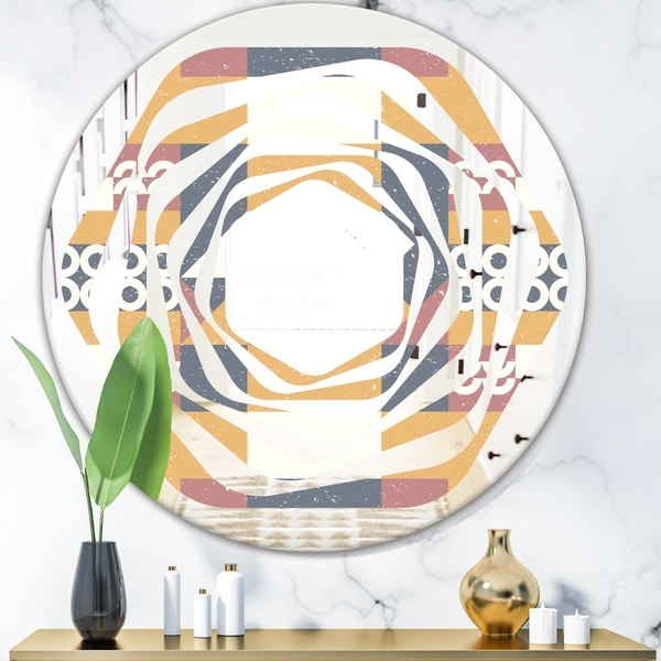 Designart 'Retro Geometric Design VI' Modern Round or Oval Wall Mirror - Whirl